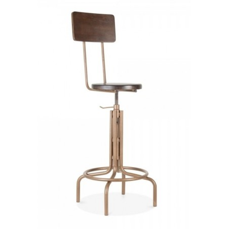 Swivel bar stools that have a slim wooden dark wood back and gold frame
