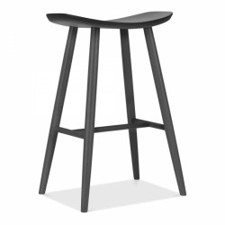wooden bar stool with curved saddle seat in dark grey