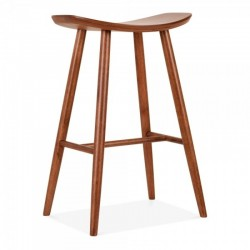 wooden bar stool with curved saddle seat in walnut