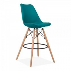 eames style 65cm bar stool with marine blue seat pad