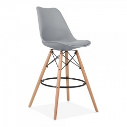 eames style bar stool 65cm with seat pad in cool grey
