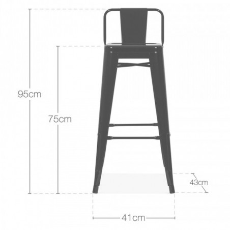 xavier pauchard tolix metal bar stool with back- Dimensions