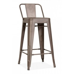 xavier pauchard tolix metal bar stool with back in rustic front view