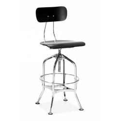 toledo style swivel bar stool - black wood with chrome metal frame angled view