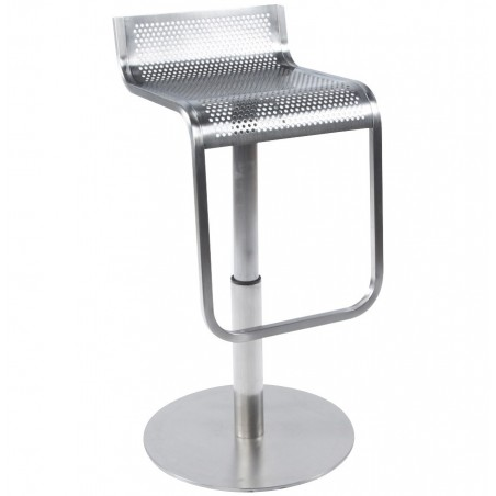 Maglia Pelle Height Adjustable Bar Stool Stainless Steel Seat Front Angle