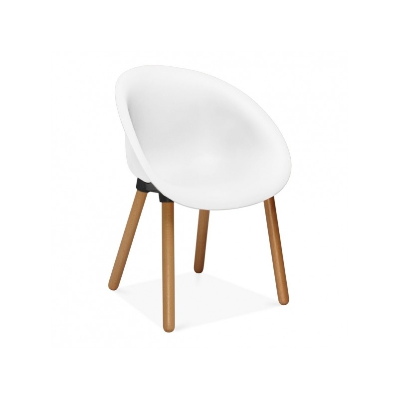 Lisa Plastic Dining Chair White Angle