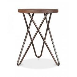 Hairpin Round Metal Low Stool Rustic