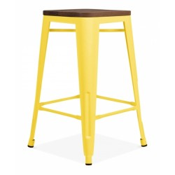 Tolix Style Coloured Stool with Wood Seat - Yellow