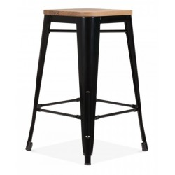 Tolix Style Coloured Stool with Wood Seat - Black