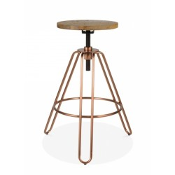 copper metal swivel stool with natural wood seat