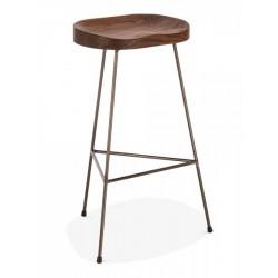 minimalist bar stool that has a dark wood and rustic 3 leg frame