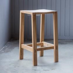 Oak bar stool in natural finish seat mood shot