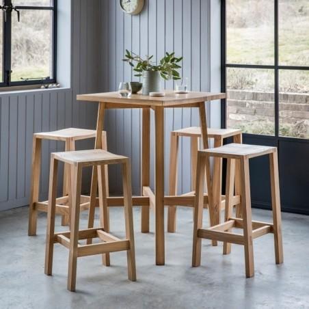 Oak bar stool in natural finish seat room shot