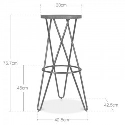 cross loop bar stools dimensions