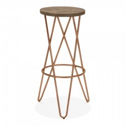 cross loop bar stools with copper frame and dark wooden seat