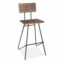 classic design wood and metal bar stool with black frame
