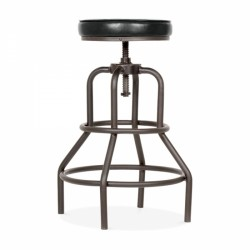 height adjustable vintage swivel bar stool with black leather