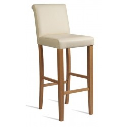 Cream Leather bar stool with wooden legs