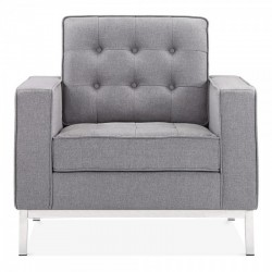 smokey grey fabric upholstered armchair