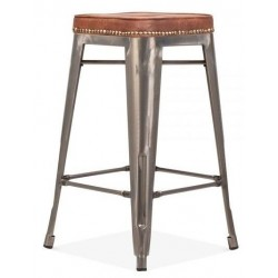 Tolix gun metal high stool with a leather seat 2
