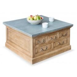 Arezzo acacia coffee table with storage trunk 1 White background