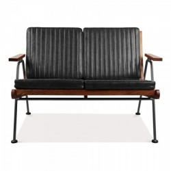 kiel industrial 2 seater sofa black front