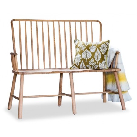 loveseat bench in natural oak White background