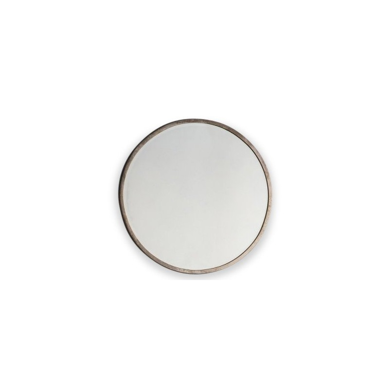 Round Wall Mirror With A Antique Silver Or Gold Distressed Finish White Background