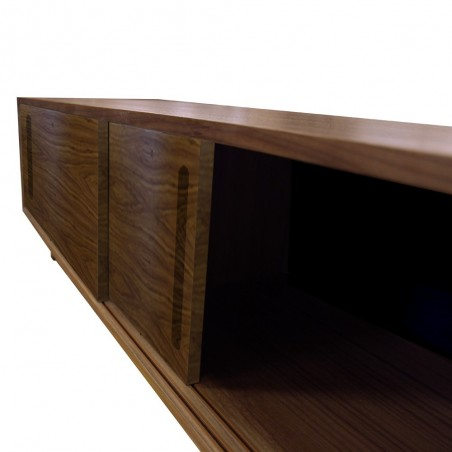 yorkley solid walnut coffee table right cupboard angle