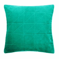 Chloe Quilted Velvet Cushion Green, front view