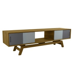 howton oak tv cabinet grey doors front angle
