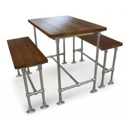 Scaffold Poseur Height Dining Table and Bench Set Main View