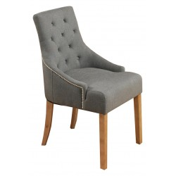 Teramo Slate Grey Accent Upholstered Oak Dining Chair front