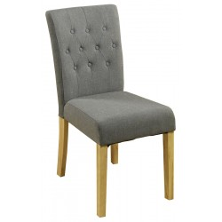 Teramo Slate grey Flare Back Upholstered Oak Dining Chair front
