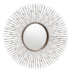Radial metal round wall mirror with distressed bronze metal spokes surrounding it.