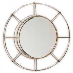 Industrial style metal round wall mirror with a gold frame. White background.