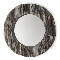 Rustic Round wall mirror in a chunky design with a neutral grey hue. White background.