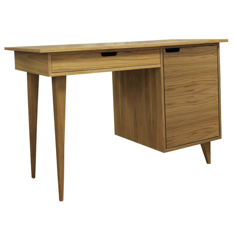 Tuam Workstation Desk - Oak Angled View