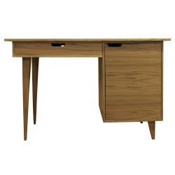 Tuam Workstation Desk - Oak Front View