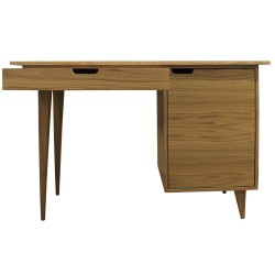 Tuam Workstation Desk - Oak Front View Drawer Open