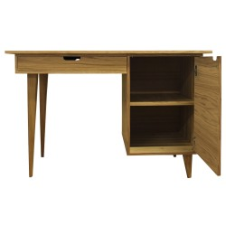 Tuam Workstation Desk - Oak Front View Door Open
