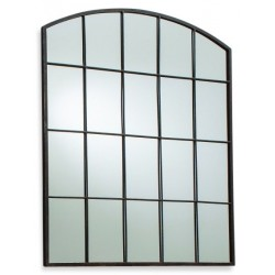 Window style arch shape mirror with a rustic frame. White background.