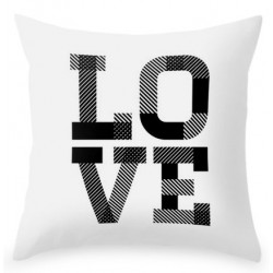 LOVE letters cushion in Scandinavian White. White background.