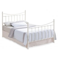 Retro Style Double Bed-Cream. White Background.