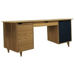 An image of Tuam Executive Desk Dark Blue and Oak