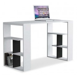 Serpiente Desk White and Anthracite. White Background.