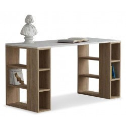 An image of Soleado Contemporary Office Desk White and Oak