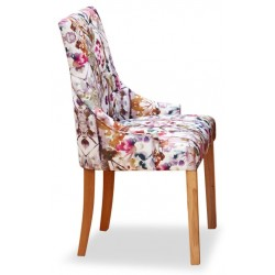 Teramo Accent Patterned Cushioned Oak Dining Chair side. White Background.