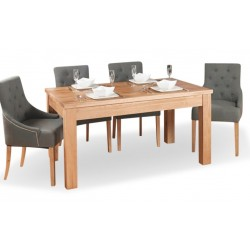 Teramo Large 8 Seat Oak Dining Table 5. White Background.