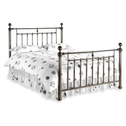 Retro Metal Double Bed Frame, finished in Black. White Background.